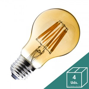 Bombilla LED E27 Regulable Filamento Classic Gold A60 6W (Pack 4 Uds.)