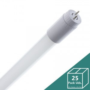 Tubo LED T8 Glass 1200mm Conexión un Lateral 18W 130lm/W (Pack 25 Uds.)
