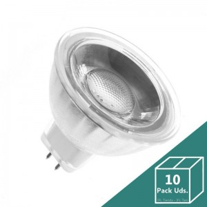 Lámparas LED GU5.3 MR16 COB Cristal 220V 45º 5W (Pack 5 Uds.)